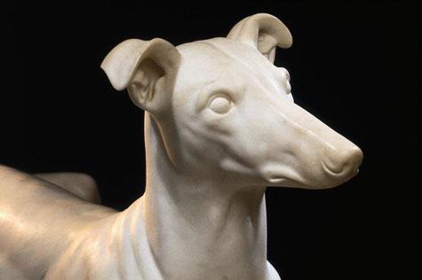 Marble sculpture of a greyhound