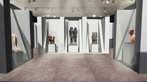 A digital rendering of a gallery with ancient Egyptian sculptures placed throughout.