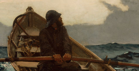 Detail of Winslow Homer's The Fog Warning; a fisherman rowing a dory in choppy waters.