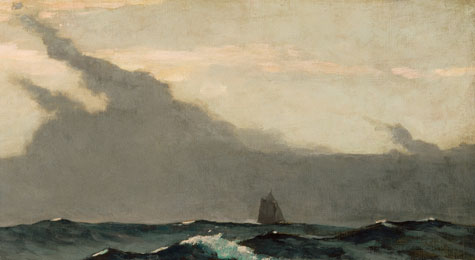 Detail of Winslow Homer's The Fog Warning; a distant schooner sitting on choppy waters as storm clouds form in the distance.