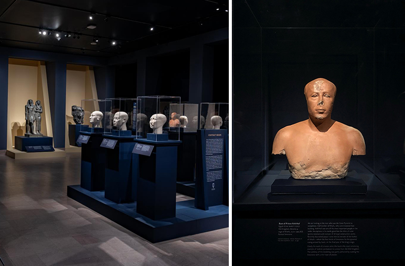 Left: ancient Egyptian sculptures in glass cases line a dark and dramatically lit gallery space. Right: an orange bust of a man in a glass case.