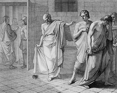 Greek philosopher Socrates stands in the center, having just dropped a cup of poison, while other figures conspire in a corner.