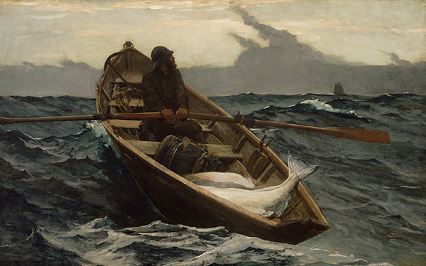 A fisherman rowing a dory full of halibut toward a far-off schooner as storm clouds form.
