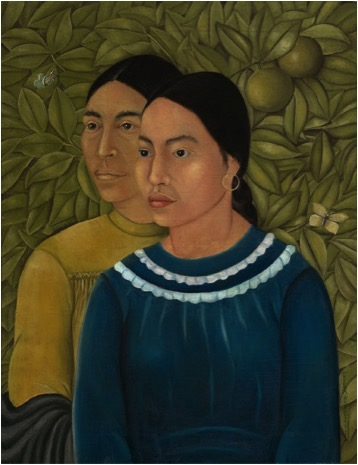 Frida Kahlo painting of two sisters posing in front of leafy background