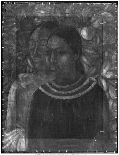 X-ray view of Frida Kahlo's Dos Mujeres painting