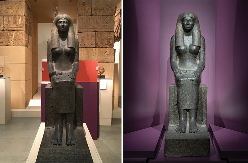 Left: A person holds red and purple paint sample squares behind the statue of Lady Sennuwy. Right: The statue of Lady Sennuwy against a dramatically lit purple backdrop.