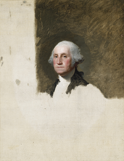 Portrait of George Washington unfinished after the shoulders.