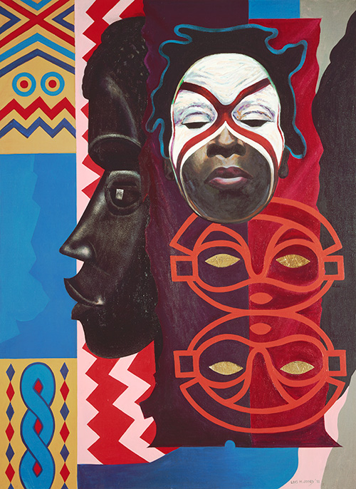 Colorful painting by Lois Mailou Jones featuring a young African girl in face paint, with depictions of masks and decoration in the background
