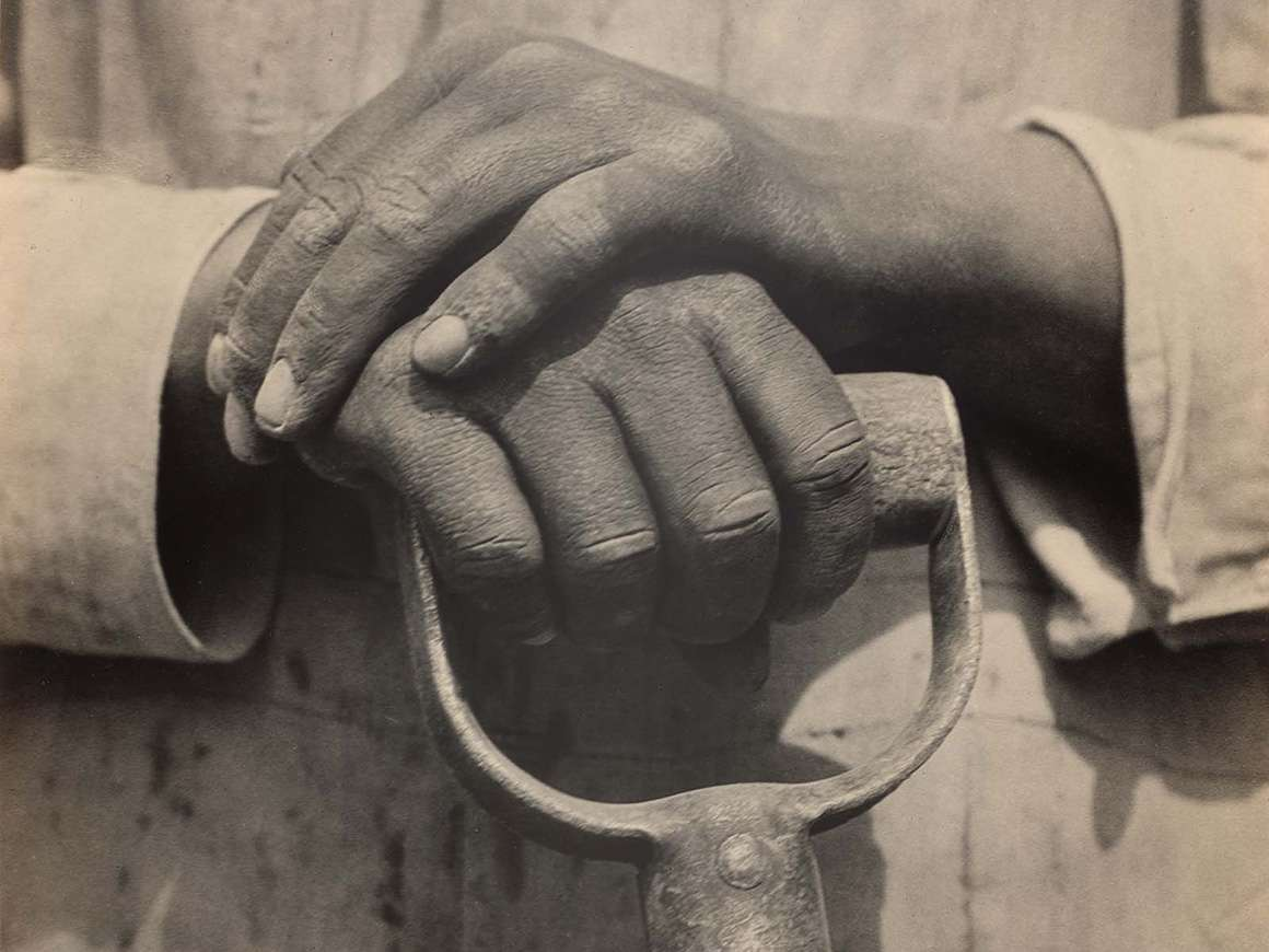 Photograph of two hands holding the handle of a tool
