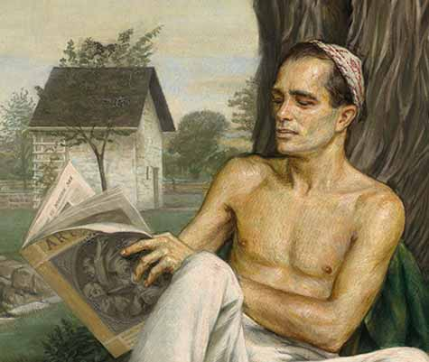 Detail of a paintingby Paul Cadmus showing a depiction of Monroe Wheeler reading a magazine