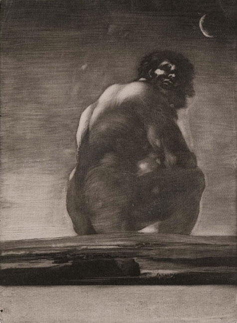 drawing of seated giant by Goya