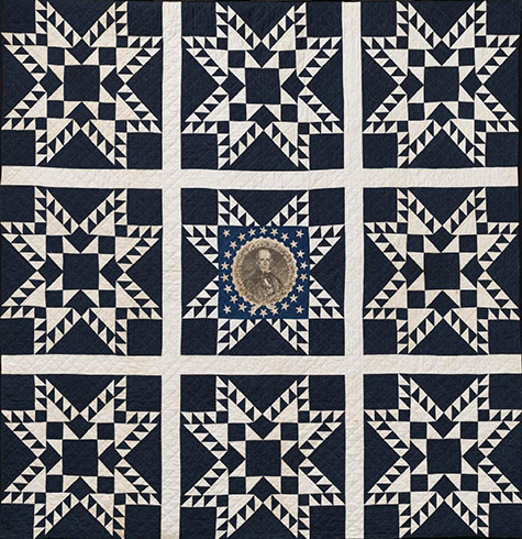 star-patterned quilt with portrait of Henry Clay at center