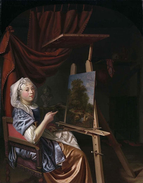Oil painting of a woman in a chair looking at the viewer.  Behind her stands an easel with a small landscape painting on it.