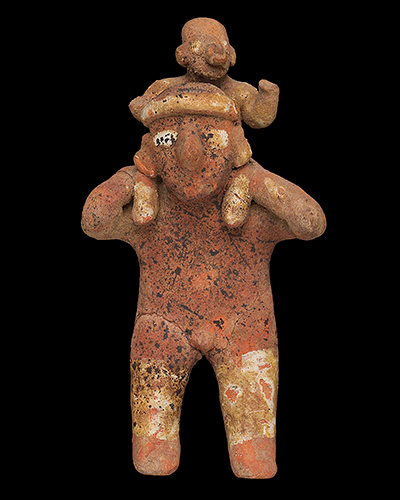 Ancient Nayarit sculpture depicting a man carrying a small child on his shoulders