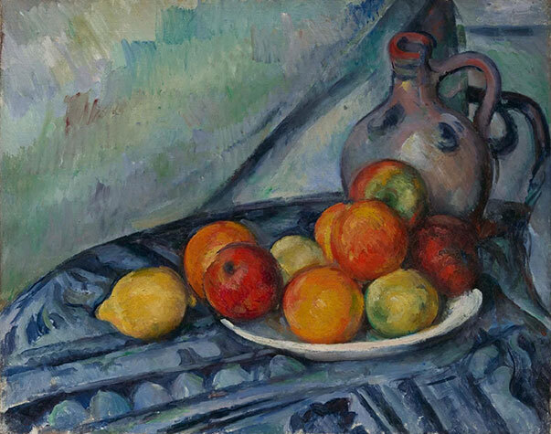 Painting of an assortment of fruit and a jug on a table