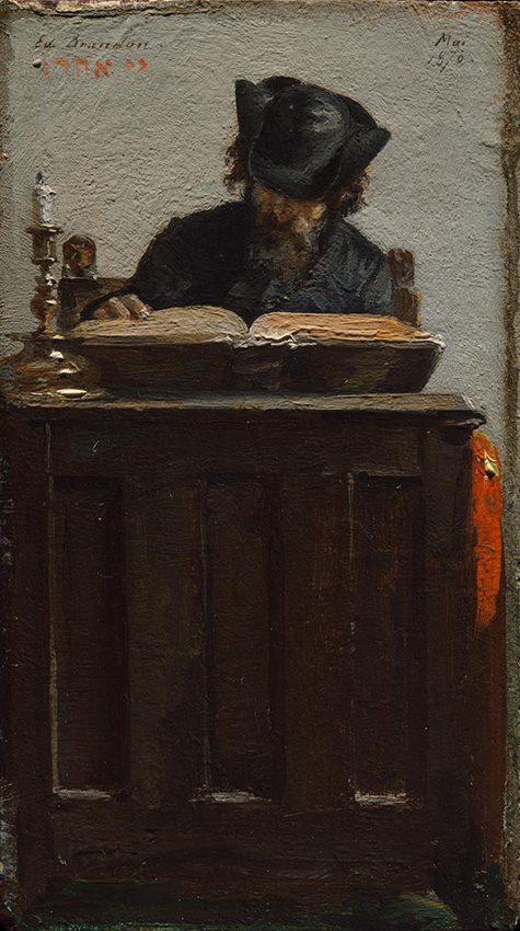 Painting of a man in a hat reading a book.