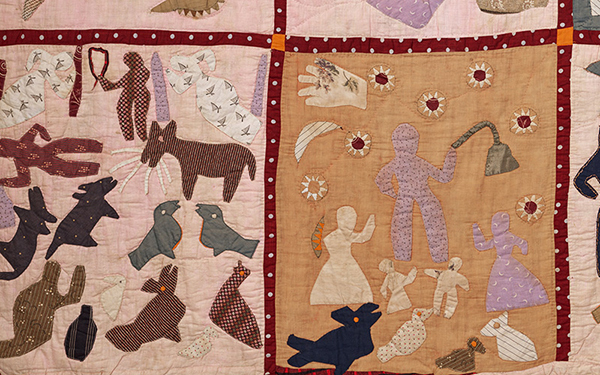 Detail from Harriet Powers's Pictorial quilt showing people and animals.