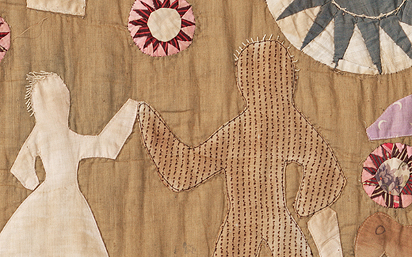 Detail of Harriet Powers's Pictorial quilt showing two people.