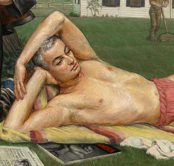 Detail of a painting by Paul Cadmus showing a depiction of George Platt Lynes lying beneath a tree