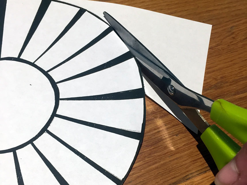 using scissors to put out basket template