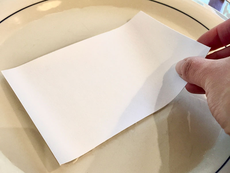 dipping one side of sheet of paper in water