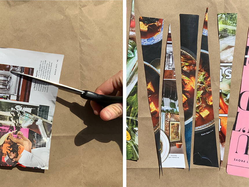 on left, using scissors to cut pages from magazines; on right, an arrangement of long triangular strips of magazine cut-outs