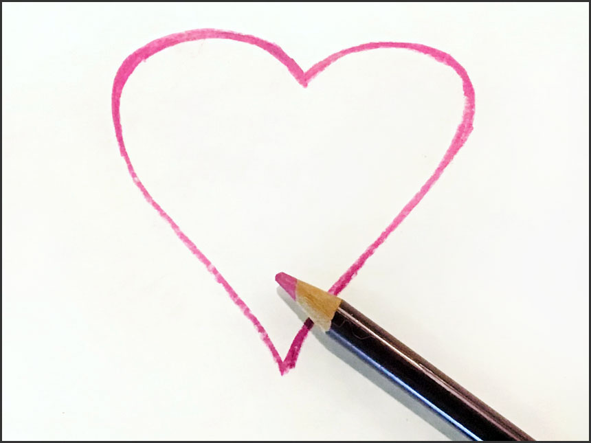heart drawn on paper with purplish colored pencil