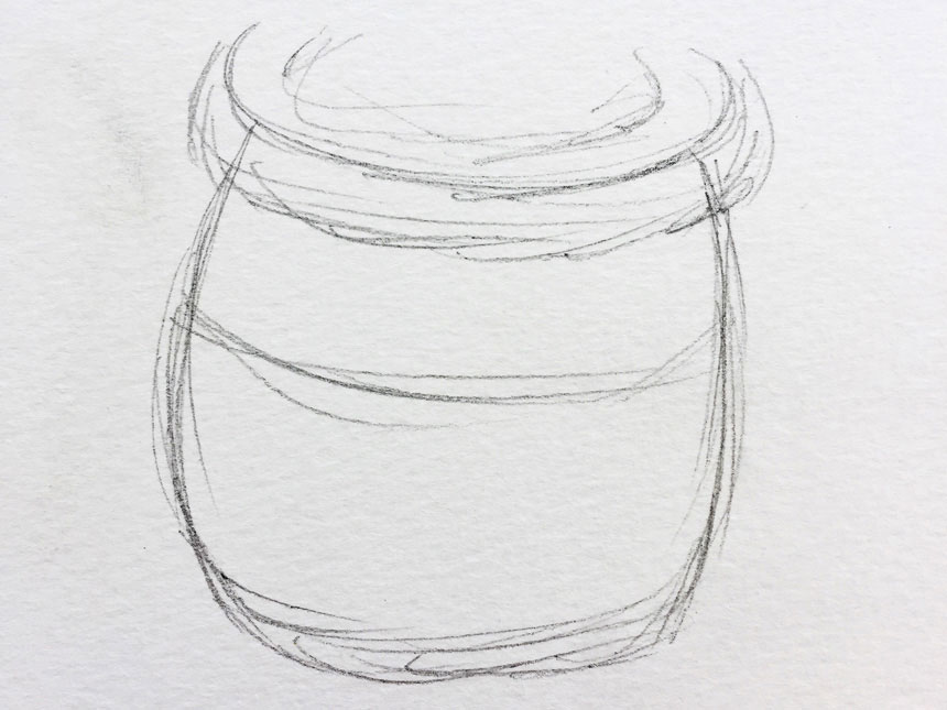 rough pencil drawing of round pot