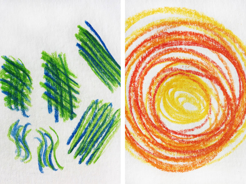 colorful geometric patterns drawn with watercolor pencils