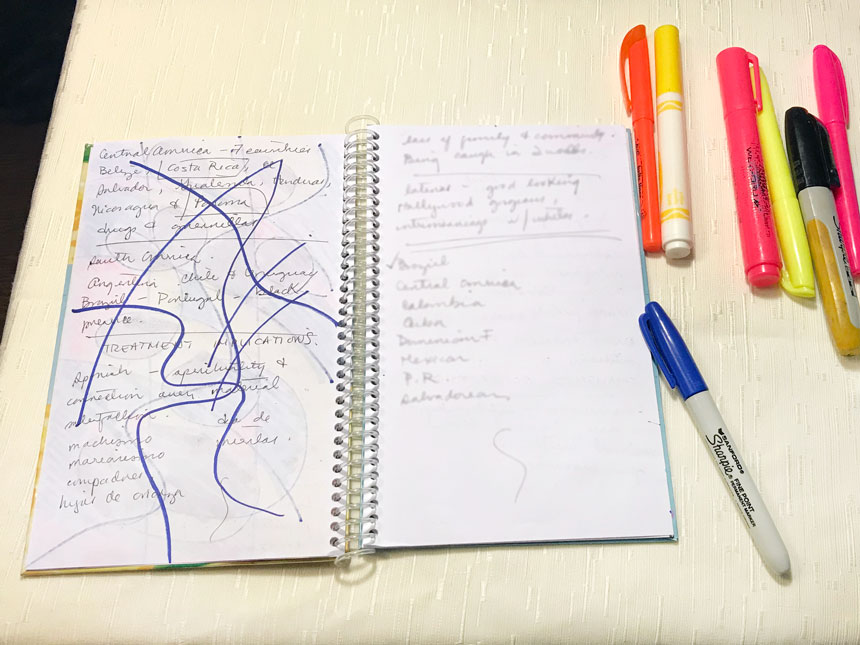 Blue, criss-crossing, wiggly lines drawn on page in notebook with blue marker
