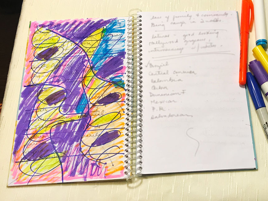 All shapes on notebook page are fully colored in