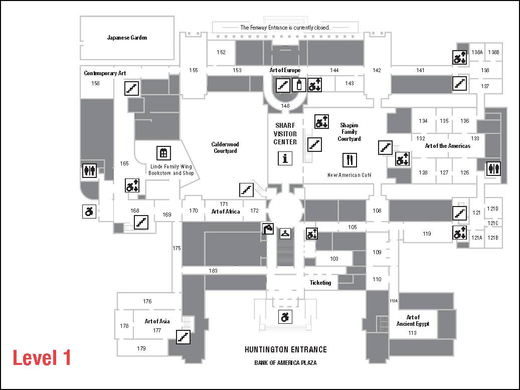 Museum floorplan depicting level 1