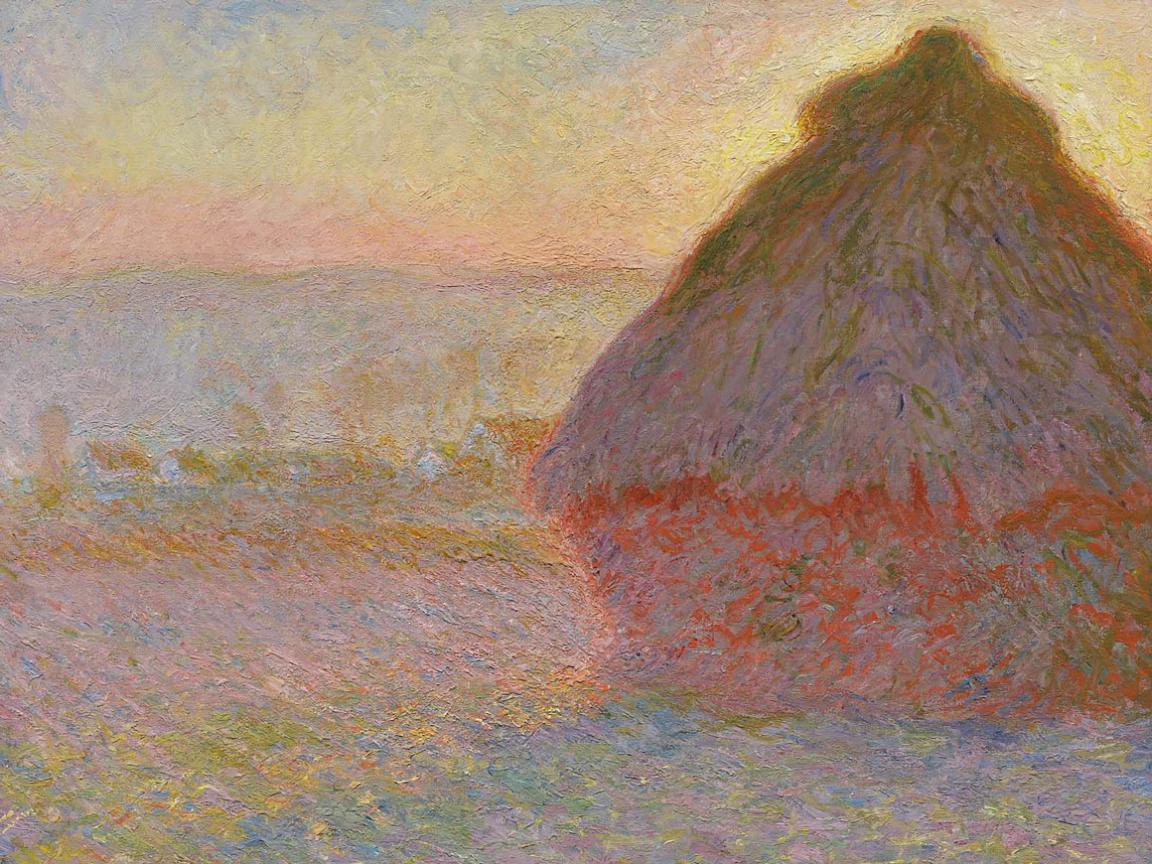 impressionist painting, Grainstacks (Sunset), by Claude Monet