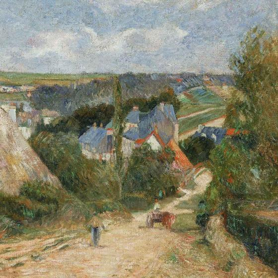 Detail of painting, Entrance to the Village of Osny, by Paul Gauguin