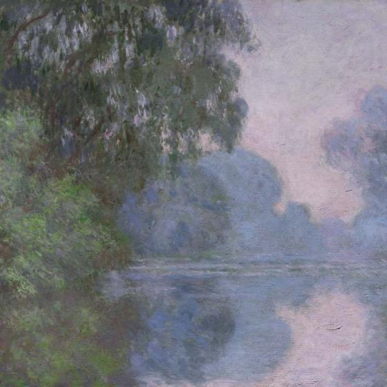 Detail of painting, Morning on the Seine, near Giverny, by Claude Monet