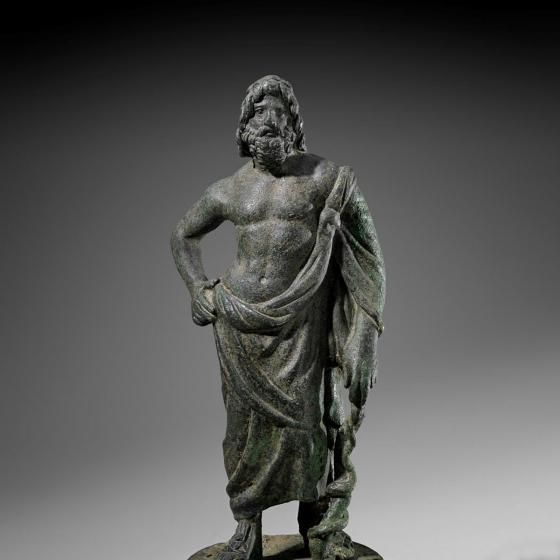 Statuette of Asklepios, holding rod with entwined snake