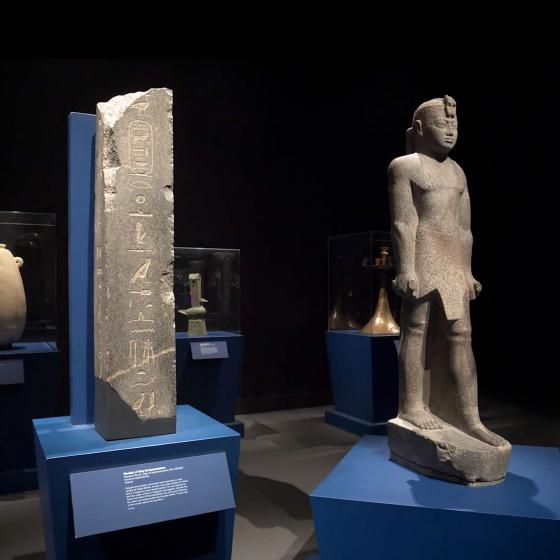 view of Nubian sculpture and stele in Ancient Nubia Now exhibition