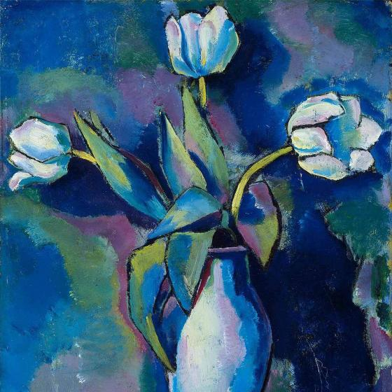 detail of painting of three white tulips in vase