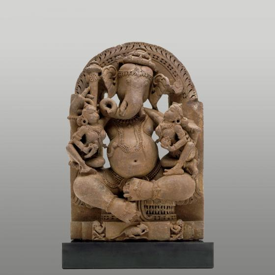 Brown sandstone sculpture of Ganesha.
