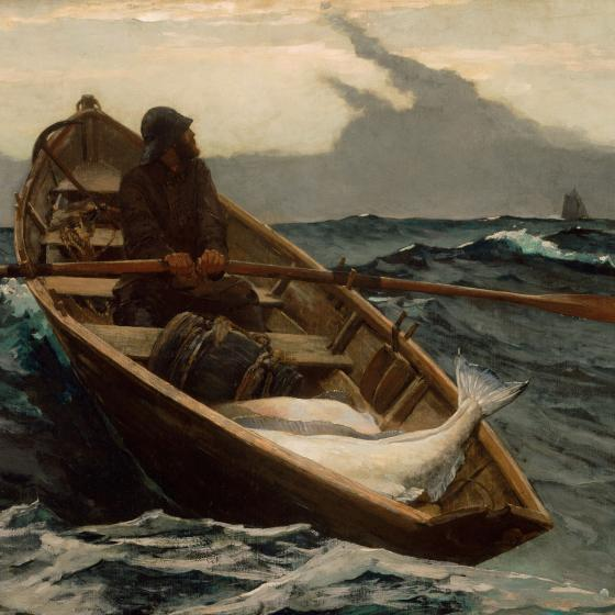 A fisherman rows a small boat filled with halibut over rough waters.  He looks over his shoulder to a ship on the horizon as storm clouds form above.