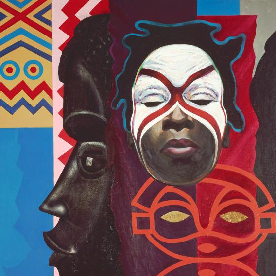 Painting of an African girl in white and red face paint with depictions of patterns and masks in the background