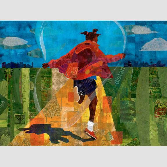 Collage of a young girl jumping rope on a golden path.