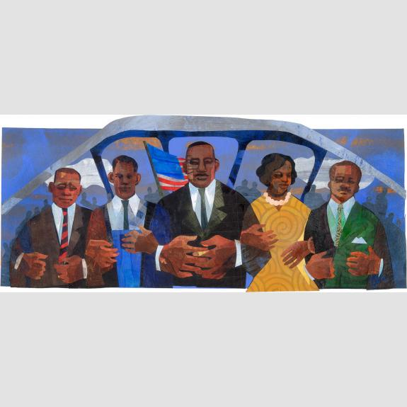 Collage of five people standing side by side with arms linked.