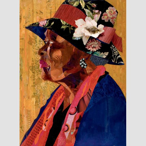A woman in profile wearing a hat with a flower in it and a red scarf over a blue shirt.