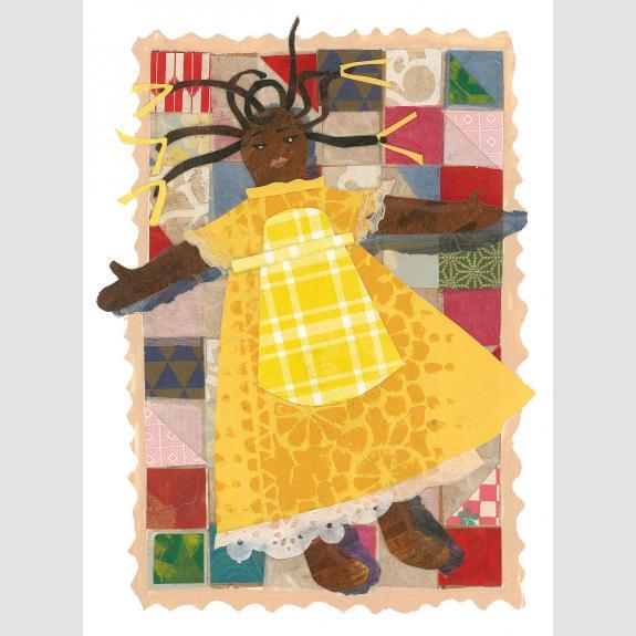 A doll wearing a yellow dress.
