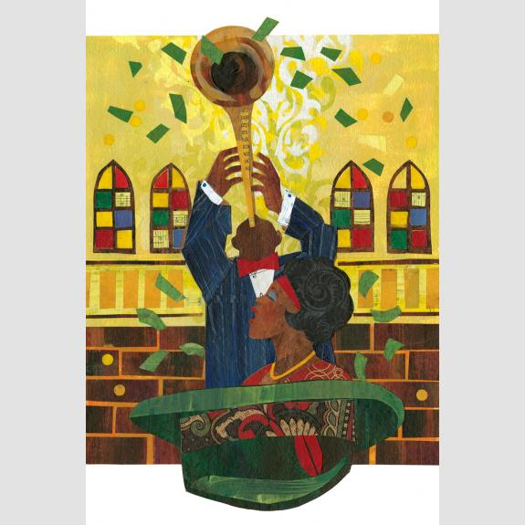 A man plays trumpet against a wall with colorful stainged-glass windows