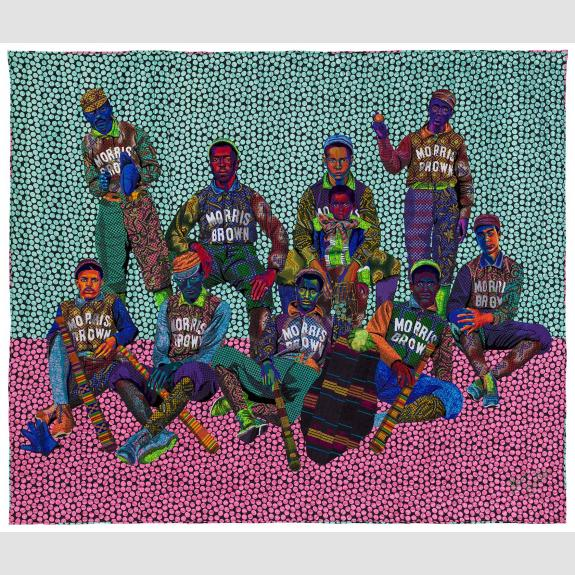 Brightly colored quilt depicting a group of young baseball players in uniform