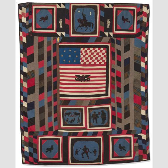 Red, white, blue, black and brown quilt with American flag and scenes of soldiers and animals.