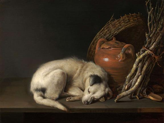 Detail of Gerrit Dou's painting, Dog at Rest