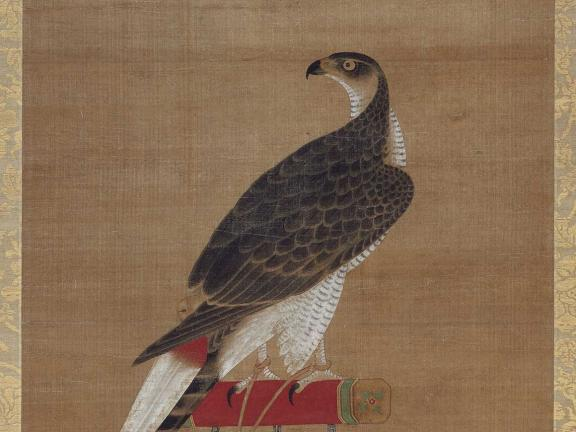scroll painting of hawk on perch